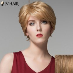 Vogue Short Side Bang Shaggy Wave Capless Real Natural Hair Wig For Women -