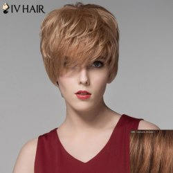 Assorted Color Fashion Side Bang Capless Fluffy Wavy Short Human Hair Wig For Women - AUBURN BROWN