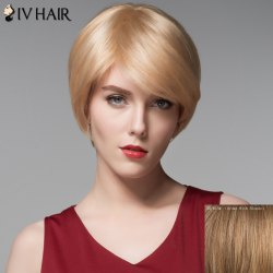Dynamic Short Side Bang Capless Fashion Straight Real Natural Hair Wig For Women -
