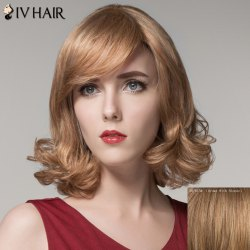 Stylish Side Bang Capless Shaggy Wavy Medium Human Hair Wig For Women -