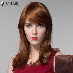 Charming Long Side Bang Capless Fluffy Wavy Real Human Hair Wig For Women -