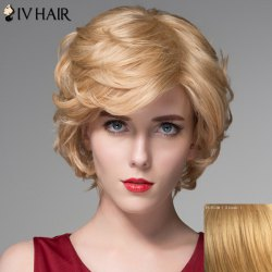 Elegant Side Bang Capless Fluffy Wavy Short Human Hair Wig - BLONDE