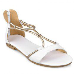 Simple Zipper and Flat Heel Design Sandals For Women - WHITE