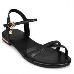 Simple Buckle Strap and Flat Heel Design Sandals For Women - BLACK