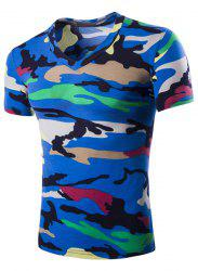 Camouflage Loose Fit Short Sleeves V-Neck T-Shirt For Men - BLUE