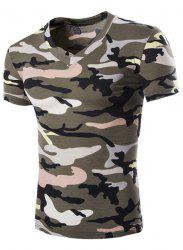 Camouflage Loose Fit Short Sleeves V-Neck T-Shirt For Men - ARMY GREEN