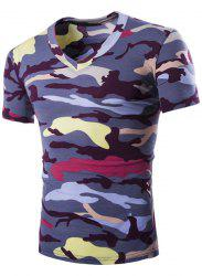 Camouflage Loose Fit Short Sleeves V-Neck T-Shirt For Men - PURPLE L