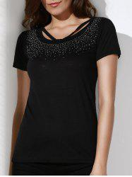 Brief Scoop Neck Rhinestone Embellished Short Sleeve T-Shirt For Women