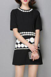 Women's Stylish Jewel Neck Short Sleeve Flower Dress -