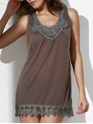 Casual Style Scoop Neck Sleeveless Crochet Laciness Spliced Tank Top For Women
