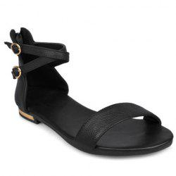 Simple Zipper and PU Leather Design Sandals For Women - BLACK