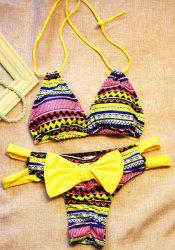 Chic Halter Chevron Printed Cut Out High-Cut Bikini For Women