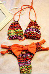 Chic Halter Colorful Printed Cut Out High-Cut Bikini For Women