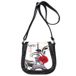 Stylish Floral Print and Engraving Design Shoulder Bag For Women - BLACK