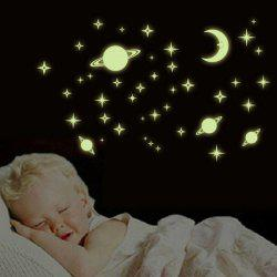 Fashion Night Sky Bedroom Ceiling Decoration Fluorescence Glow Wall Stickers -