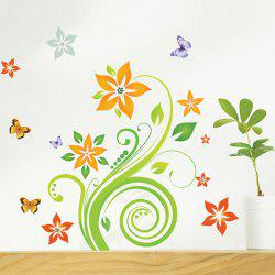 Fashion Floral Rattan Butterflies Pattern Bedroom Decoration Wall Stickers -