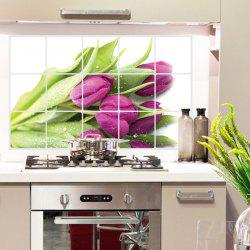 3D Removable Tulip Pattern Kitchen Decoration Wall Stickers - PURPLE