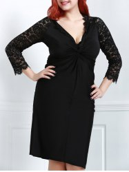 Sexy Plunging Neck Black Lace Spliced Long Sleeve Dress For Women