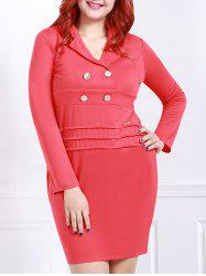 Graceful Lapel Red Long Sleeve Dress For Women
