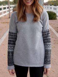 Casual Scoop Neck Geometric Print Spliced Thick Sweatshirt For Women - GRAY