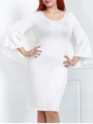 Plus Size V-Neck Modest Work Bodycon Caped Dress - WHITE