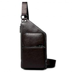 Casual Solid Colour and Zippers Design Messenger Bag For Men - BLACK