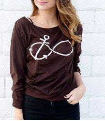 Casual Style Scoop Neck Long Sleeve Printed Women's T-Shirt - DEEP GRAY S