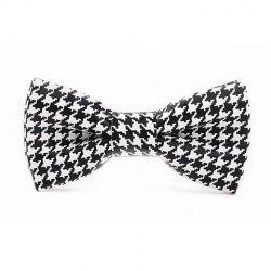 Stylish Houndstooth Pattern Black and White PU Bow Tie For Men -