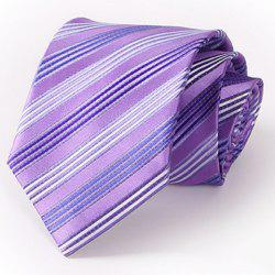 Stylish Multiple Twill Pattern 8.5CM Width Purple Tie For Men - PURPLE