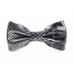 Stylish 3D Fish Scale Pattern PU Bow Tie For Men