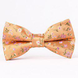 Stylish Flower and Leaf Jacquard Bow Tie For Men