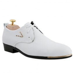 Stylish Pointed Toe and Lace-Up Design Formal Shoes For Men - WHITE