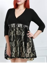Women's Chic V-Neck 3/4 Sleeve Lace Plus Size Dress