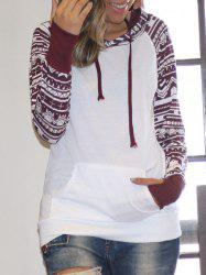 Chic Long Sleeve Geometrical Hooded Color Block Hoodie For Women - WHITE