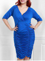 V-Neck Ruched Bodycon Drape Midi Dress