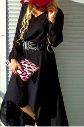 V-Neck Long Sleeve High Low Modest Maxi Dress - BLACK