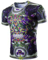 Vogue Floral Skulls Print Short Sleeves Round Neck T-Shirt For Men - PURPLE