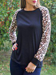 Chic Round Neck Leopard Splicing Long Sleeve T-Shirt For Women