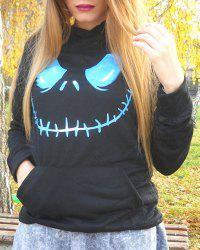Active Black Hooded Skull Printed Pullover Hoodie For Women - BLACK