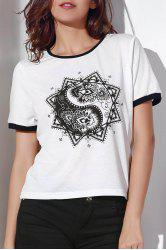 Chic Round Neck Short Sleeve Abstract Print Contrasting Piped Women's T-Shirt -