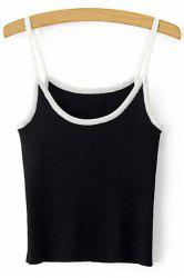 Chic Spaghetti Strap Contrasting Piped Women's Knit Tank Top -