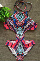Sexy Printed Halter Neck Cut Out Women's One-Piece Swimwear -