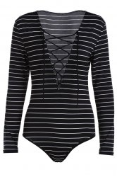 Fashion Plunging Neck Long Sleeve Striped Lace Up Bodysuit -