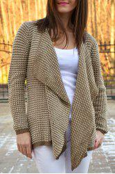 Casual Collarless Long Sleeve Knitted Cardigan For Women - KHAKI