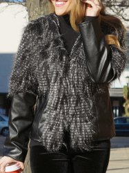 Faux Fur PU Leather Jacket - BLACK