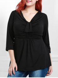 Stylish Black V-Neck 3/4 Sleeve Plus Size Blouse