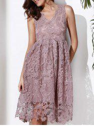 Lace Sleeveless A Line Cocktail Dress - GRAY