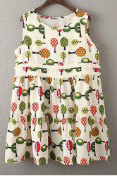 Sleeveless Printed A-Line Dress -