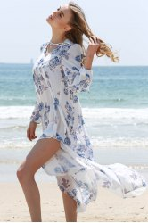 Maxi Floral Long Sleeve Beach Swing Boho Dress -