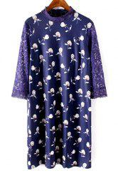 Sweet Stand Neck Lace Sleeve Printed Women's Shift Dress -